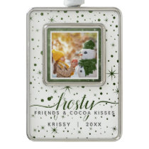 Frosty Friends & Cocoa Kisses Starry Dated Photo Christmas Ornament