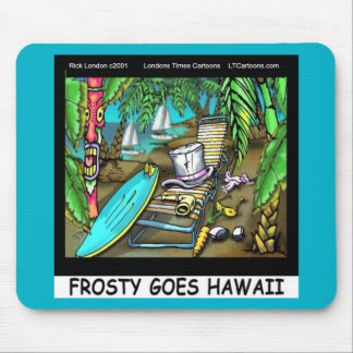 Frosty Goes Hawaii Funny Christmas Mouse Pad