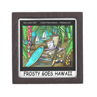Frosty Goes Hawaii Funny Christmas Premium Trinket Boxes