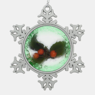 Frosty Green Holly Snowflake Snowflake Pewter Christmas Ornament
