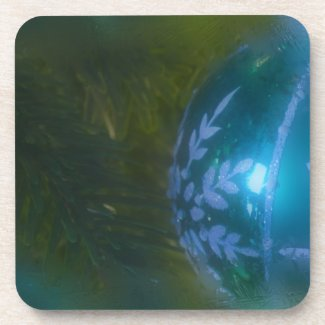 Frosty Green Ornament Beverage Coaster