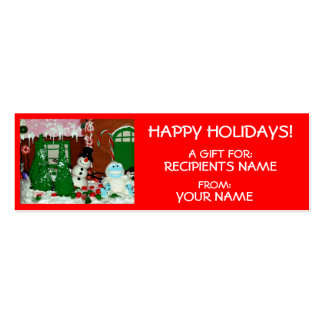 FROSTY - HAPPY HOLIDAYS GIFT TAGS Double-Sided MINI BUSINESS CARDS (Pack OF 20)