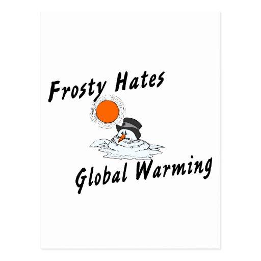 Frosty Hates Global Warming Postcards