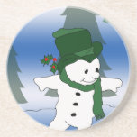 Frosty in Green Beverage Coaster