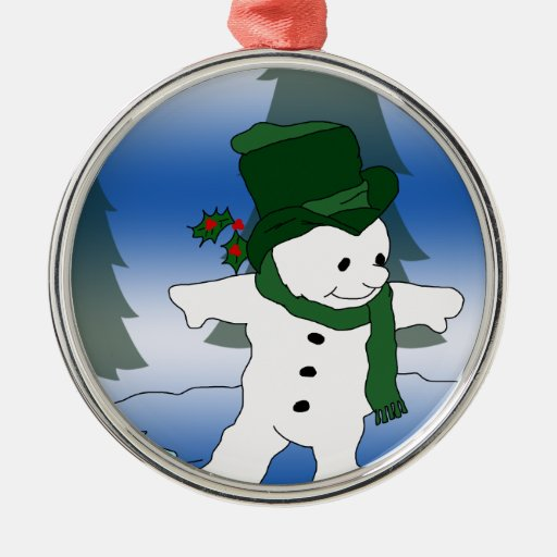 Frosty in Green Christmas Tree Ornaments