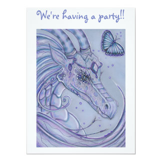 Frosty lavender dragon party invitations for kids
