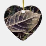 frosty leaf christmas ornaments