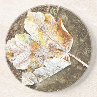 Frosty Leaf Drink Coaster