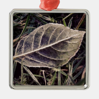 frosty leaf metal ornament