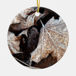 Frosty Maple Leaves, photograph Ceramic Ornament