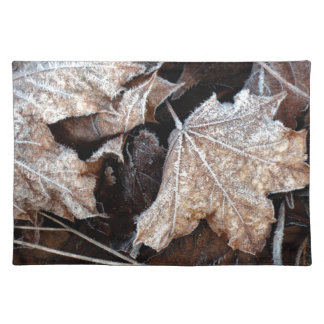 Frosty Maple Leaves, photograph Place Mat