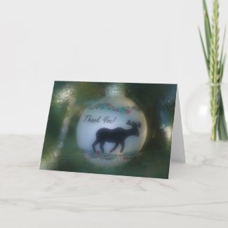 Frosty Moose Ornament Thank You Card card