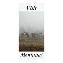 Frosty Morning Fog, Horses, Visit Montana! Rack Card