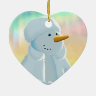 Frosty Double-Sided Heart Ceramic Christmas Ornament