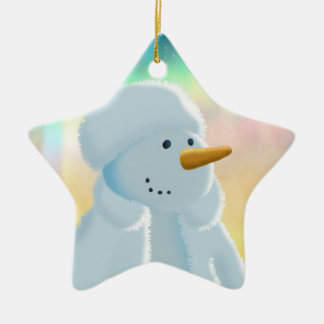 Frosty Double-Sided Star Ceramic Christmas Ornament