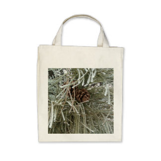 Frosty Pine Tote Bags