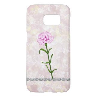Frosty Pink Bokeh Carnation Flower Corsage Diamond Samsung Galaxy S7 Case