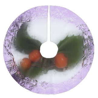 Frosty Purple Holly Brushed Polyester Tree Skirt