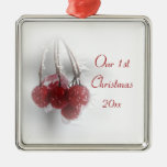 Frosty Red Berries 1st Christmas Together Square Metal Christmas Ornament