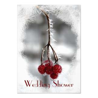 Frosty Red Berries Couples Wedding Shower Invite