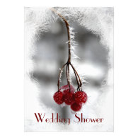 Frosty Red Berries Couples Wedding Shower Invites