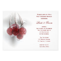 Frosty Red Berries Post Wedding Brunch Invitation