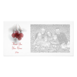 Frosty Red Berries Thank You Photo Card