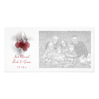 Frosty Red Berries Winter Just Married Photo Card