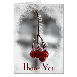 Frosty Red Berries Winter Thank You Card