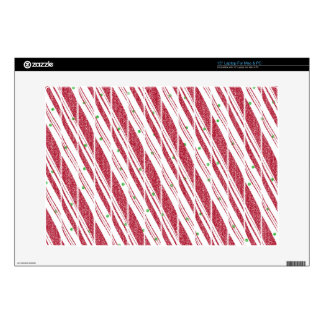 Frosty Red Candy Cane Pattern Decal For Laptop