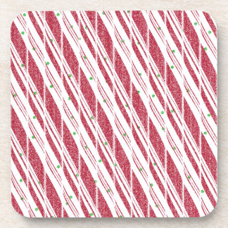 Frosty Red Candy Cane Pattern Drink Coaster