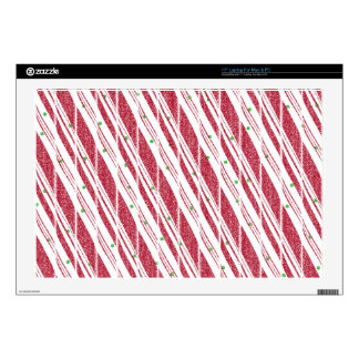 Frosty Red Candy Cane Pattern Laptop Decals