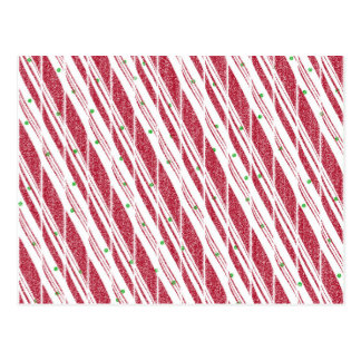 Frosty Red Candy Cane Pattern Postcard