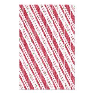 Frosty Red Candy Cane Pattern Stationery