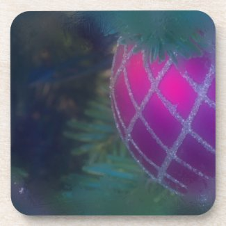 Frosty Red Ornament Coaster