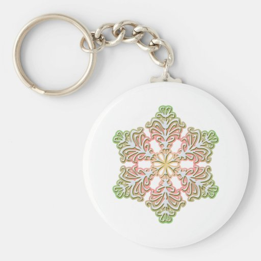 Frosty Rose Winter Christmas Snowflake Keychain