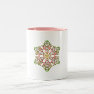 Frosty Rose Winter Christmas Snowflake Mugs