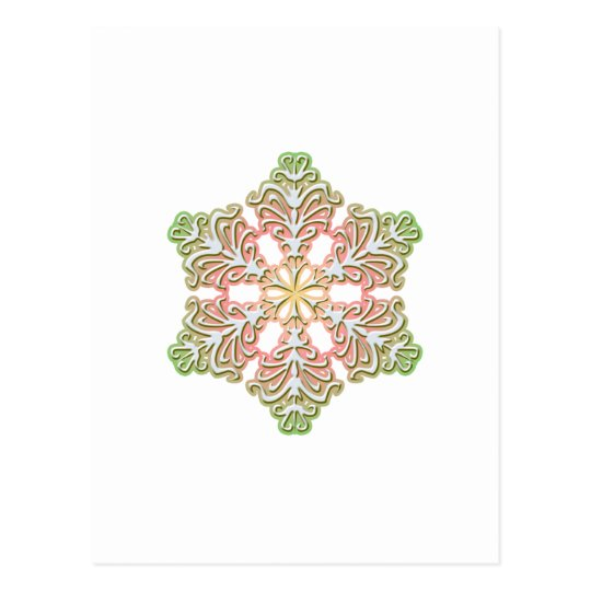 Frosty Rose Winter Christmas Snowflake Postcard