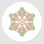 Frosty Rose Winter Christmas Snowflake Classic Round Sticker