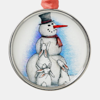 FROSTY ROUND METAL CHRISTMAS ORNAMENT
