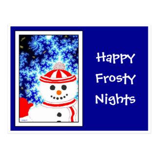 FROSTY S NIGHT Snowman on Blue Postcard