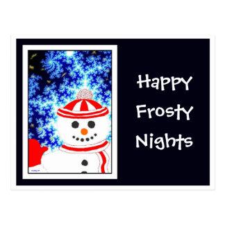 FROSTY S NIGHT Snowman on Navy Postcard