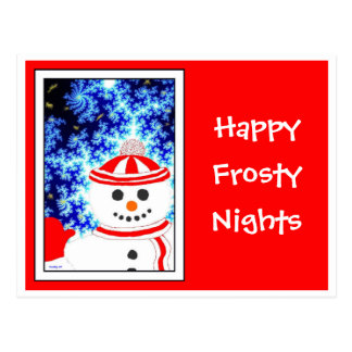 FROSTY S NIGHT Snowman on Red Postcard