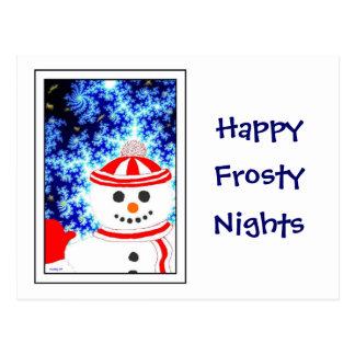 FROSTY S NIGHT Snowman on White Postcard