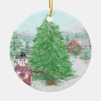 Frosty Scene Ceramic Ornament