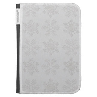 Frosty Silver Snowflakes Kindle Keyboard Cases