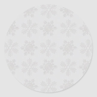 Frosty Silver Snowflakes Classic Round Sticker