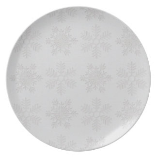 Frosty Silver Snowflakes Dinner Plate