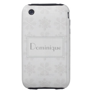 Frosty Silver Snowflakes Monogram iPhone 3 Tough Cover