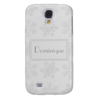 Frosty Silver Snowflakes Monogram Galaxy S4 Cases